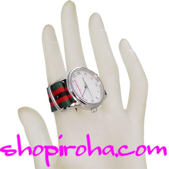 指輪時計・ダブルフィンガー・リングウォッチ・指時計・防水・NATOストラップ・ベルトタイプ・カーキ赤黒