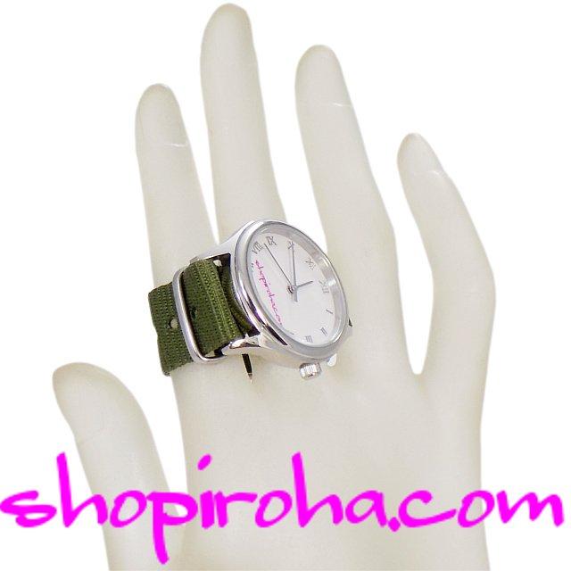 指輪時計・ダブルフィンガー・リングウォッチ・指時計・防水・NATOストラップ・ベルトタイプ・カーキ