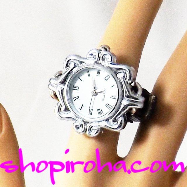 指時計・合皮ベルトで指につけるタイプの指輪型の時計リングウォッチ・ゆりの紋章モチーフ25角ローマ数字 - shopiroha.comオリジナル指輪時計・送料無料