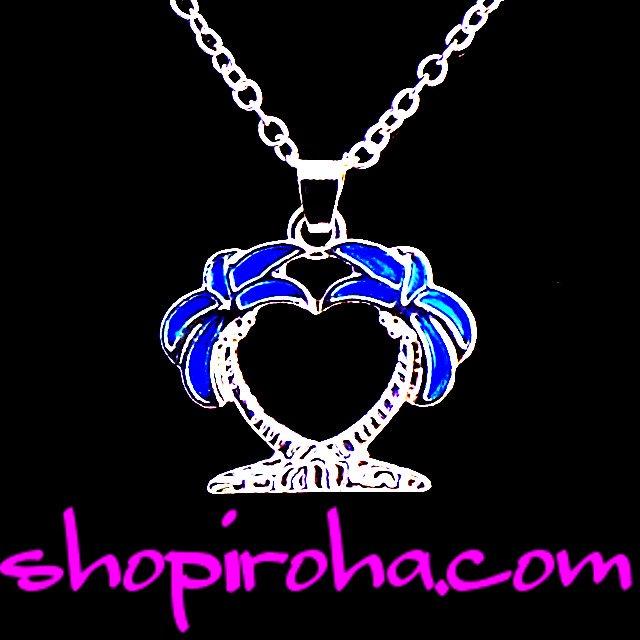 ヤシの木ハートネックレス・ ペンダント palm tree sweet love heart シルバー・ブルー・ハワイアンジュエリーshopiroha.com
