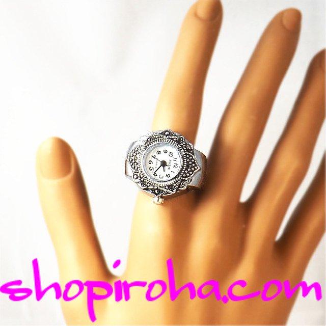 指時計、指輪時計メンズでもレディースでも、便利で、オシャレなRing Watch指輪時計・リングウォッチ・フィンガーウォッチ・アンティーク・ゴシック・シルバーカラー・花びらモチーフ- shopiroha.com 送料無料