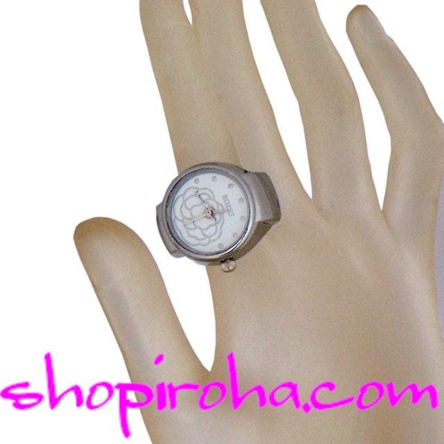 指輪時計シルバーローズ銀色のバラ指時計 リングウォッチ フィンガーウォッチ リングクロック