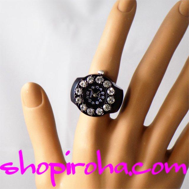 黒ピコ12キラキラ指時計リングウォッチ指輪時計フィンガーウォッチpikoブラック