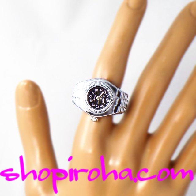 メンズでもレディースでも、便利で、オシャレな指輪時計・リングウォッチ・フィンガーウォッチ・シルバー・マルチライン・指時計・黒・小 - shopiroha.com送料無料・リングクロック