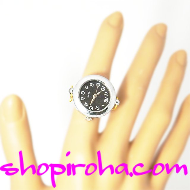 極細チェーンタイプのオシャレな指輪時計銀i色25文字盤黒 shopiroha.comオリジナル方式。メンズでもレディースでも、便利で、オシャレな指輪時計です。