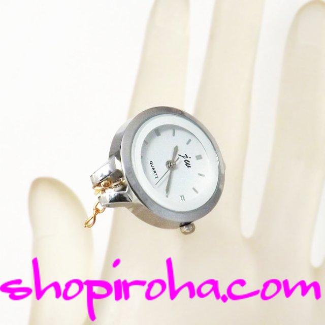 極細チェーンタイプのオシャレな指輪時計銀28 shopiroha.comオリジナル方式。メンズでもレディースでも、便利で、オシャレな指輪時計です。