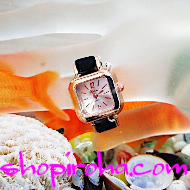 指輪時計金ピコスクウェアローズゴールドベルトタイプshopiroha.comオリジナル 指時計 リングウォッチ フィンガーウォッチ 送料無料