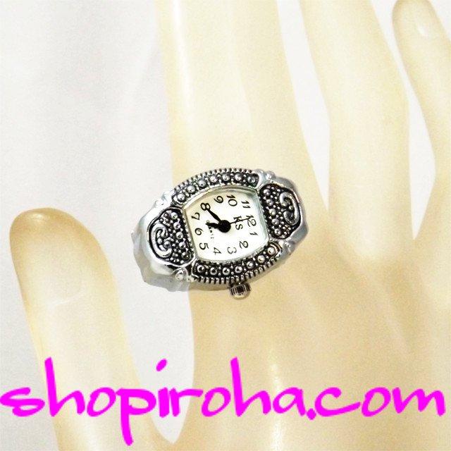 指輪時計・リングウォッチ・指輪型時計・角丸・銀piko・ゴシック・アンティーク・シルバー・カラー