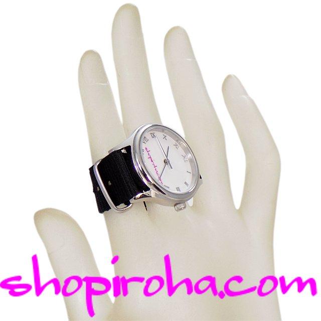 指輪時計・ダブルフィンガー・リングウォッチ・指時計・防水・NATOストラップ・ベルトタイプ・黒