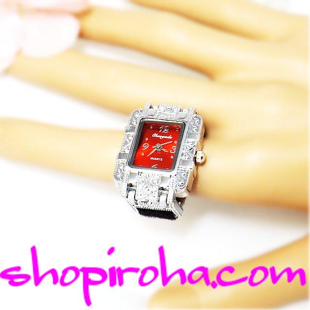 指輪時計 パイルベルトタイプ角型ロココ文字盤赤ルビーレッド shopiroha.comオリジナル指時計。 指輪時計にパイルベルトの採用で、長さ調整が、完全自由になりました。細い指でも太い指でも、また緩めでもキツメでもお好にフィットできる指輪時計リングウォッチです。- shopiroha.com ジュエリー・アクセサリー・送料無料