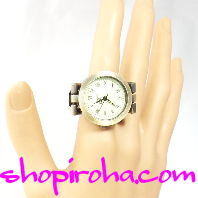 指時計 ベルトタイプ アンティーク ブロンズ カラー ローマ数字27shopiroha.comオリジナル指輪時計計 リングウォ…