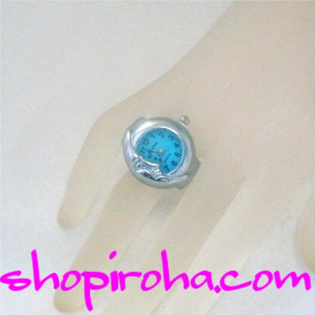 指輪時計・リングウォッチ・指時計・シルバー・ブルー・ムーン