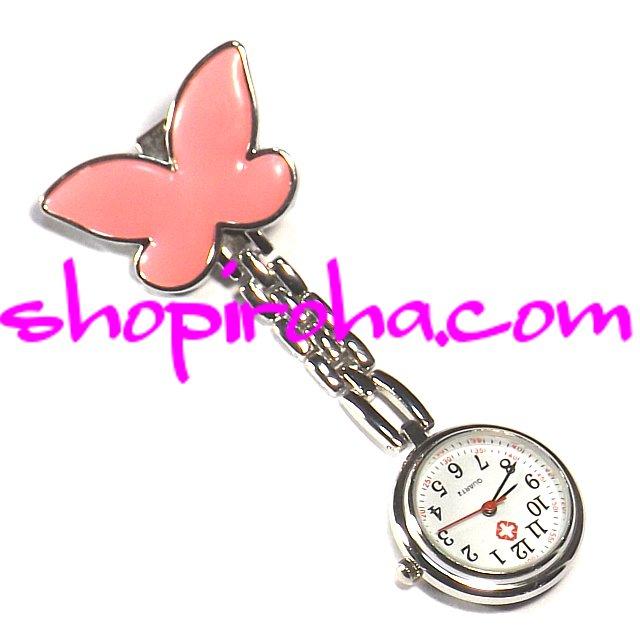 ナースウォッチ AGEHA アゲハ蝶ピンク文字盤が逆さクリップで簡単取り外し看護師さん介護士さん必見の時計shopiroha.com送料…