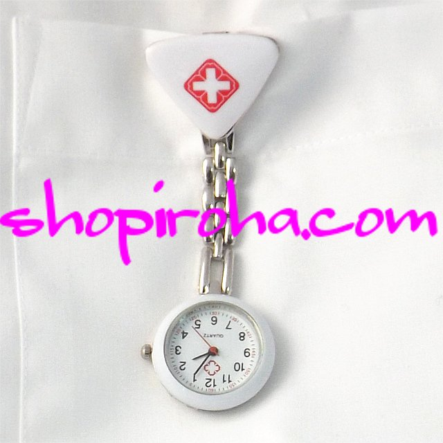 ナースウォッチ三角 白 文字盤が逆さ クリップで簡単取り外し 護師さん介護士さん必見の時計 送料無料