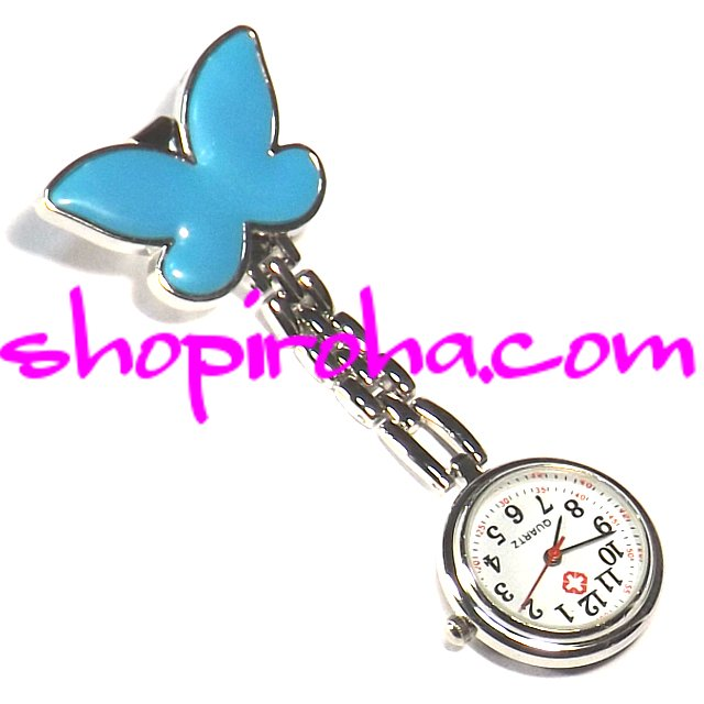 ナースウォッチ AGEHA アゲハ蝶青文字盤が逆さクリップで簡単取り外し看護師さん介護士さん必見の時計shopiroha.com送料…