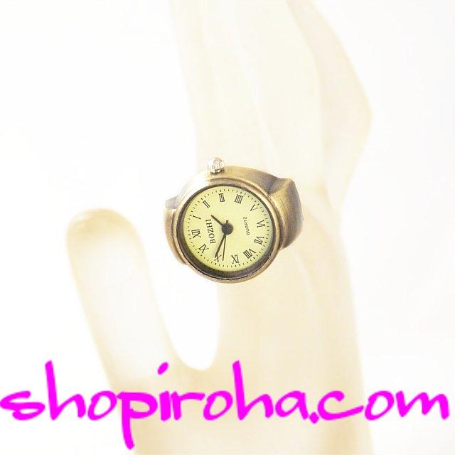 指時計 リングウォッチ オシャレ な 指輪時計 アンティーク ブロンズ・カラー ローマ数字 - shopiroha.com・ショップイロハドットコム