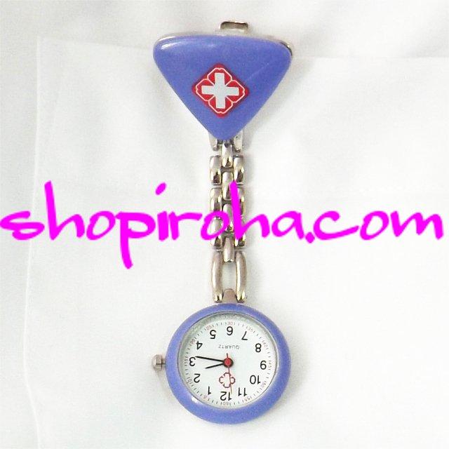ナースウォッチ三角 紫色文字盤が逆さクリップで簡単取り外し看護師さん介護士さん必見の時計 送料無料