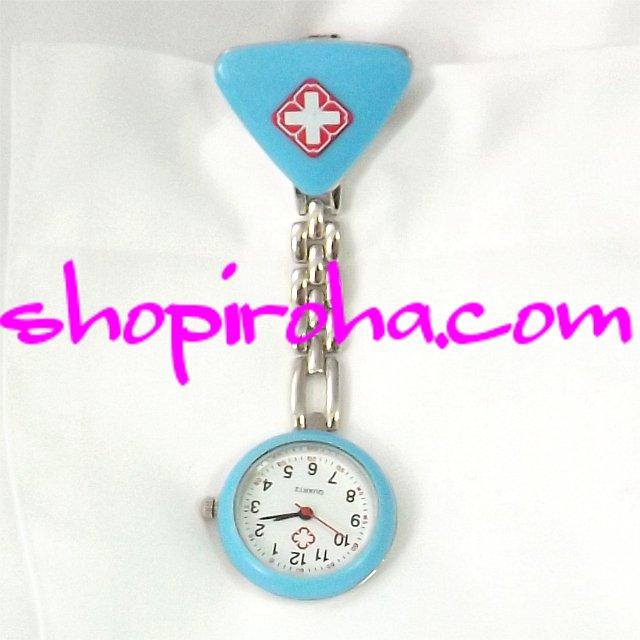 ナースウォッチ三角 水色 文字盤が逆さクリップで簡単取り外し看護師さん介護士さん必見の時計 送料無料