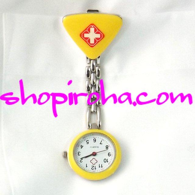 ナースウォッチ三角黄色文字盤が逆さ クリップで簡単取り外し 護師さん介護士さん必見の時計 送料無料