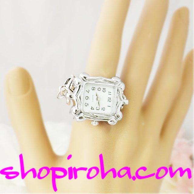 指輪時計・指時計・リングウォッチ・リングクロック指輪時計・オシャレな鎖のリングウォッチ・銀色22x24角 shopiroha.com鎖・チェーンタイプのオリジナル方式 - shopiroha.com 送料無料