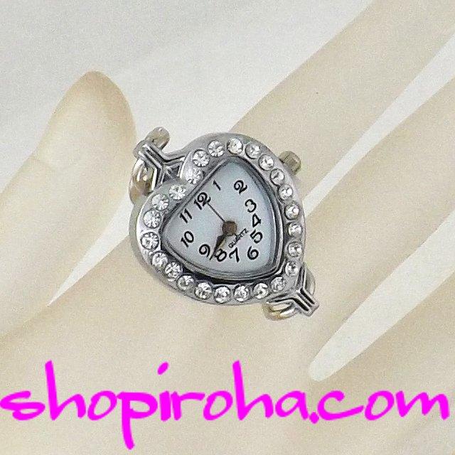 指輪時計・オシャレな鎖のリングウォッチ・銀23ハートクリアストーン shopiroha.comオリジナル方式
