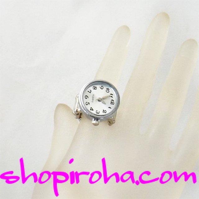 指輪と時計21mm文字盤白shopiroha.com時計とパヴェトップ付