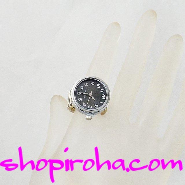 指輪と時計21mm文字盤黒shopiroha.com時計とパヴェトップ付