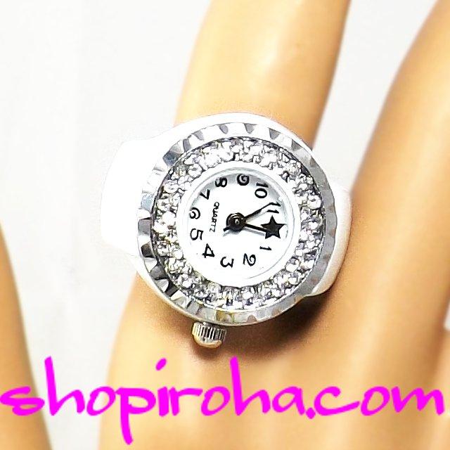 白ピコ キラキラ指時計・PIKOさんのような指輪時計・リングウォッチ・リングクロック・パヴェ・リング・ブラックスター白shopiroha.com送料無料