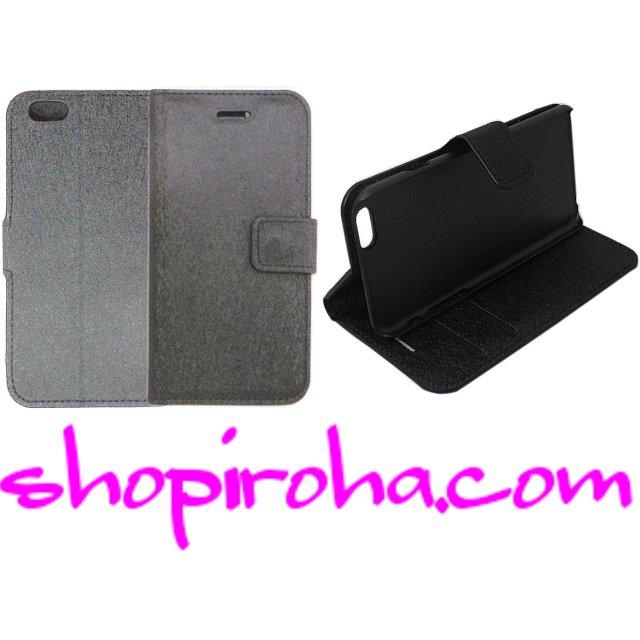 af856dc4f5 iPhone 6s 6用スマホケース・フリップレザーケース手帳型キラキラと輝くシルキーブラック