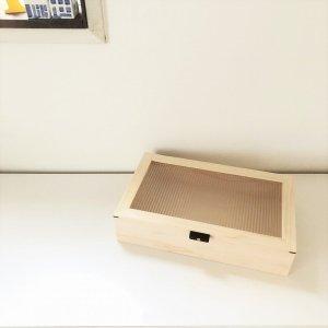 木製小物入れ/ヒノキ・和ガラス調
