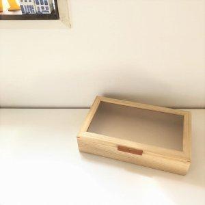 木製小物入れ/桐・すりガラス調