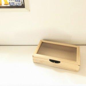 木製小物入れ/桐・和ガラス調