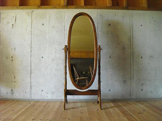 Oval Wood Stand Milrror