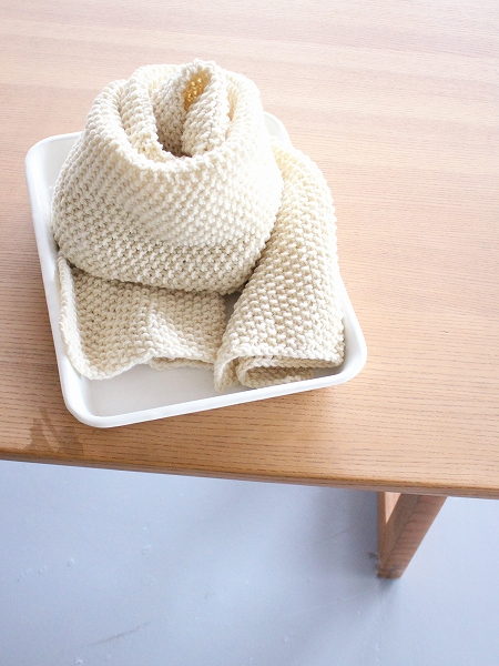 eleven 2nd Moss Stitch Stole - Hand Knitted