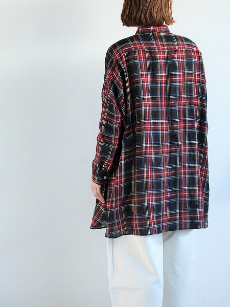 R&D.M.Co- / OLDMAN'S TAILOR LINEN TARTAN CHECK ROOMY SHIRT