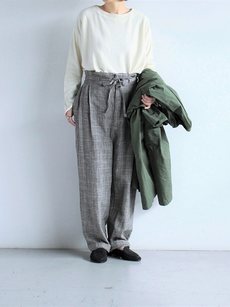 unfil glen checked-tweed wide leg trousers