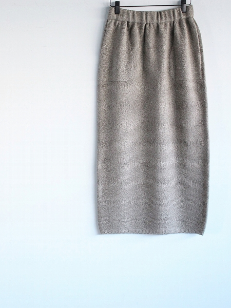 unfil mulberry & raw silk knit skirt