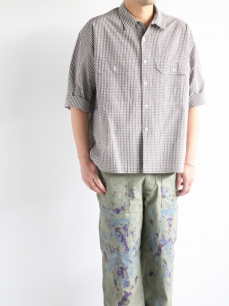 unfil washed cotton-gingham open collar work shirt