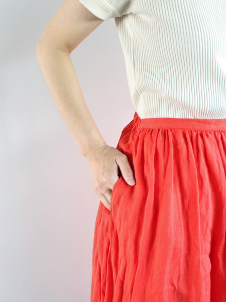 ordinary fits TRAVEL SKIRT linen RED