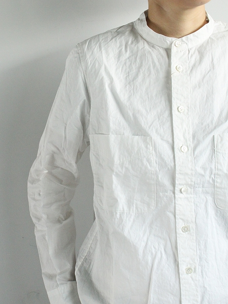R&D.M.Co- GARMENT DYE BAND COLLAR SHIRT