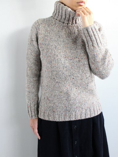 Fisherman Polo Neck Sweater / L.Gray × Color Nep (LADIES)