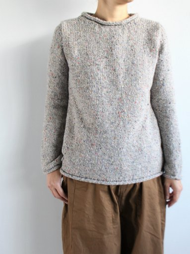 Fisherman Roll Neck Sweater / L.Gray × Color Nep (LADIES)