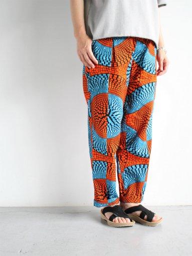 Kanga AFRICAN BATIK DRAW STRING PANTS - ORANGE(LADIES)
