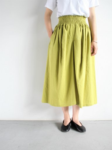 FACTORY COTTON LINEN GATHER SKIRT / YELLOW (products for us) (LADIES)