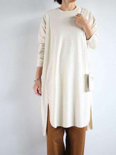 unfil raw silk jersey long-sleeve t-shirt dress / natural (LADIES)