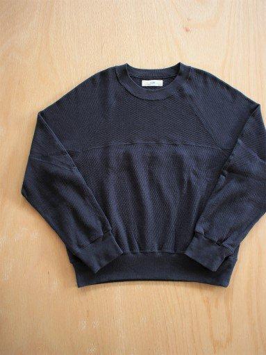 unfil cotton-thermal mesh cropped top / oriental navy (LADIES)