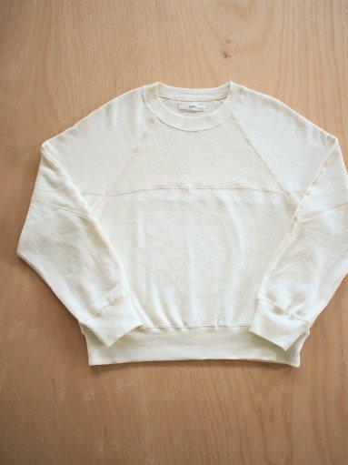 unfil cotton-thermal mesh cropped top / ecru (LADIES)