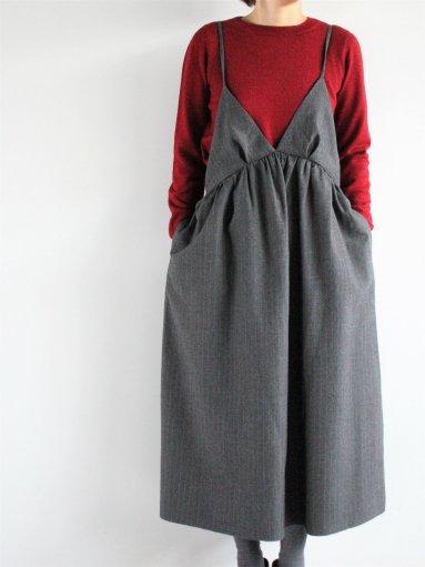 unfil striped wool-serge camisole dress / gray (LADIES)