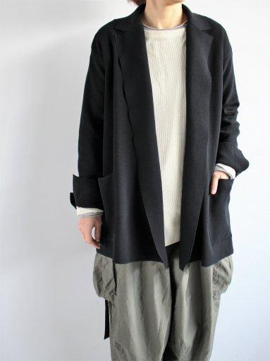 unfil high twist cotton milanoribbed-knit jacket / black (LADIES)