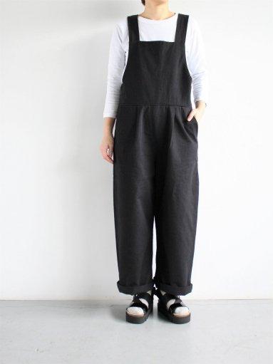 GRANDMA MAMA DAUGHTER CHINO CLOTH SALOPETTE / BLACK (LADIES)